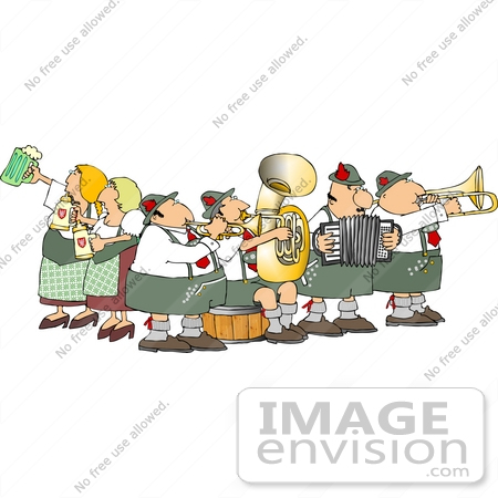 German Brass Band and Beer Maidens at Oktoberfest Clipart.
