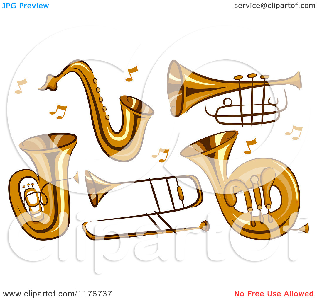 Cartoon of Brass Instruments and Music Notes.