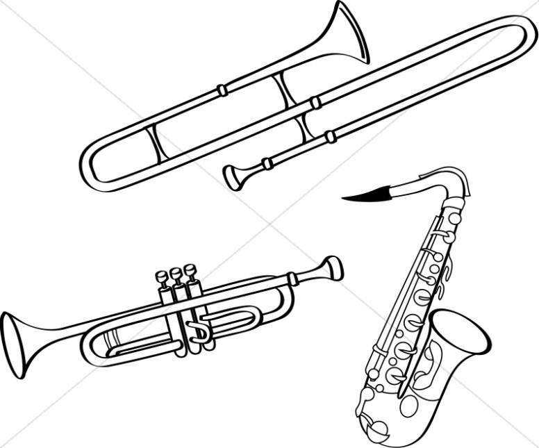 BW Line Art Brass Instruments.