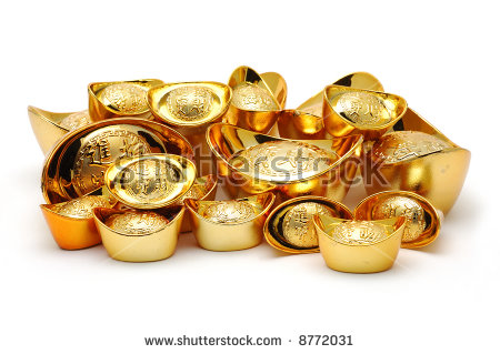 Chinese Gold Ingot Ornaments Stock Photos, Royalty.
