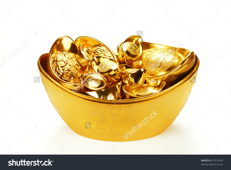 Chinese New Year Ornamentstack Gold Ingots Stock Photo 41519434.