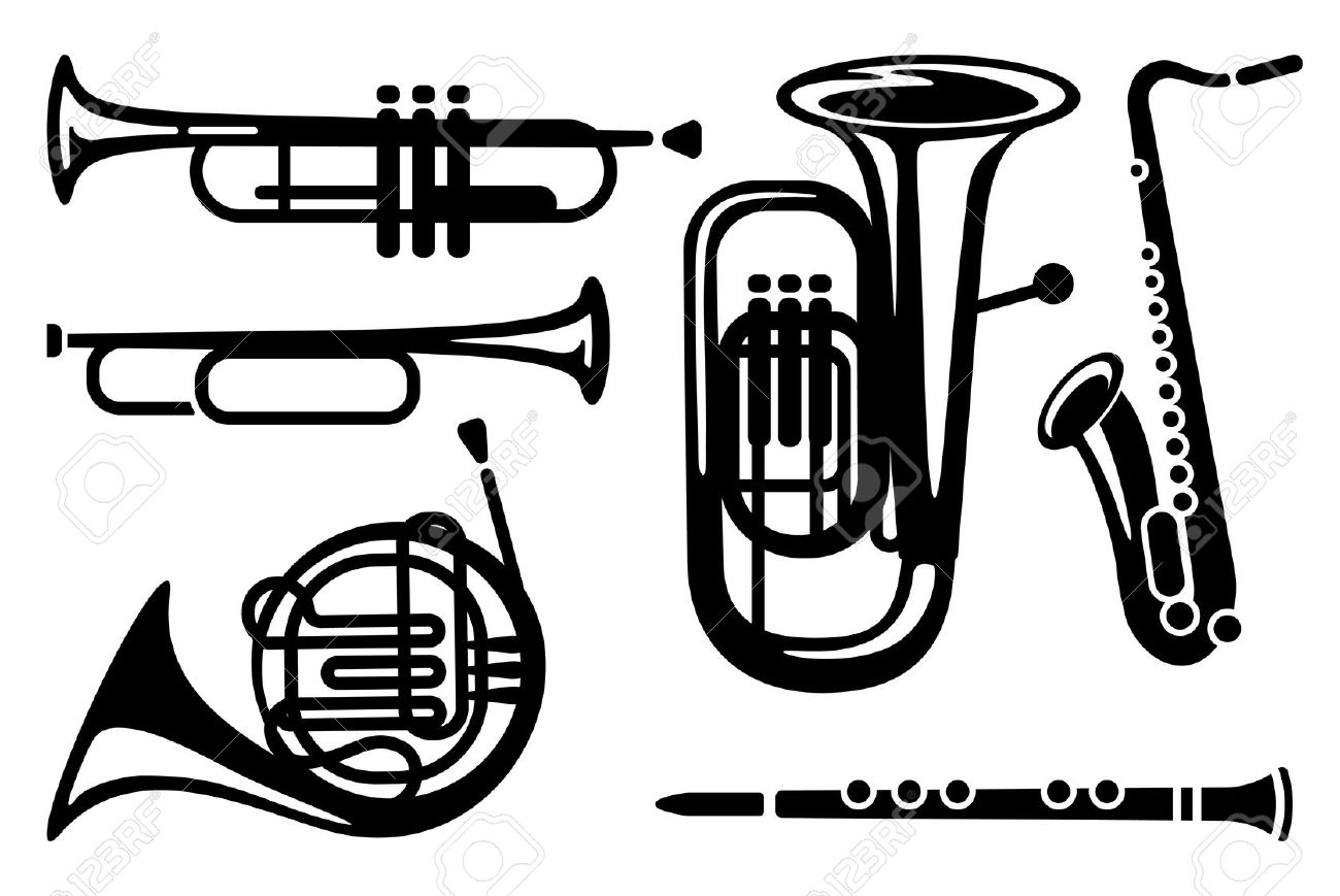 Icons Of Wind Musical Instruments Royalty Free Cliparts, Vectors.