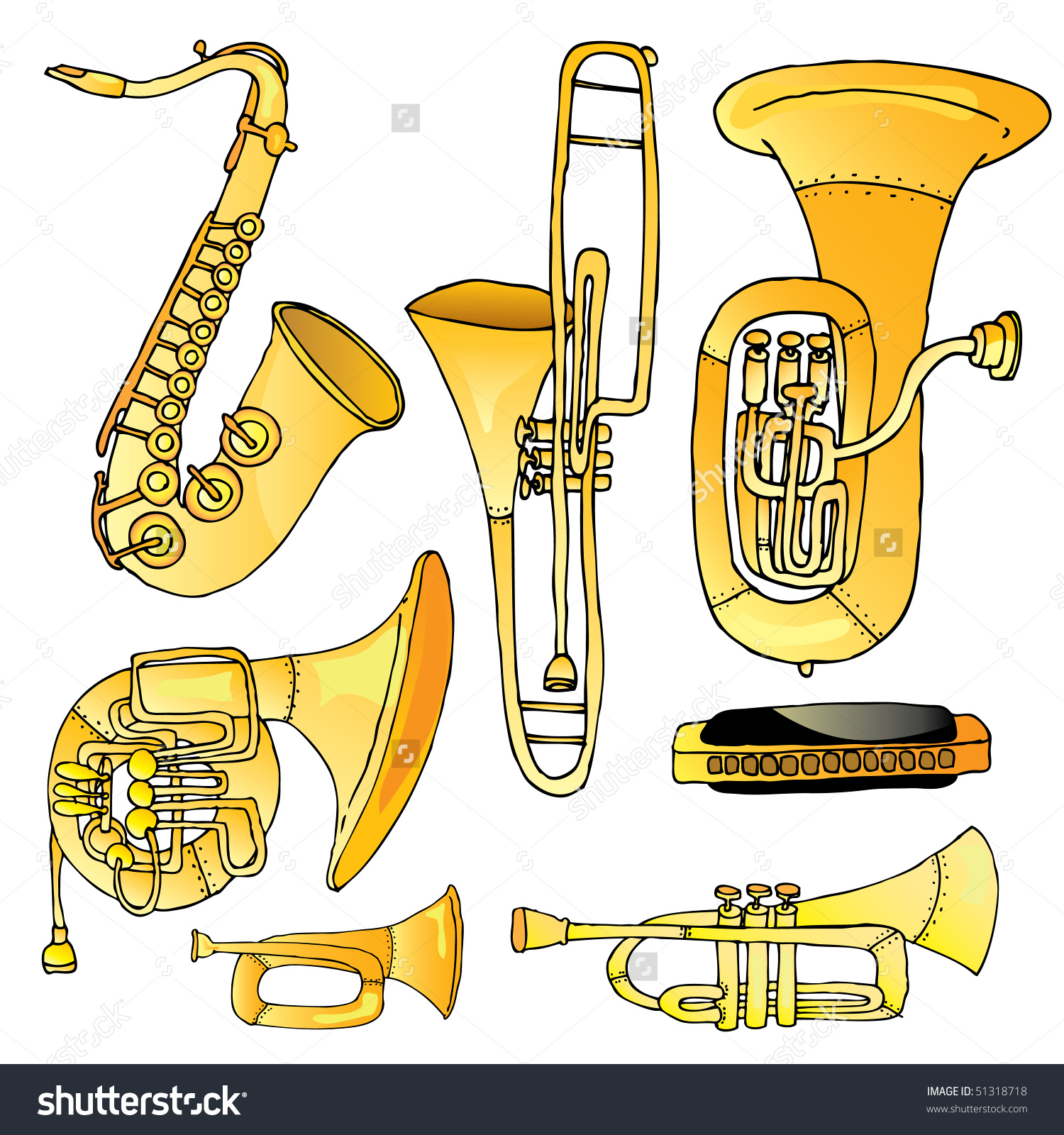 Music Instrumentsthe Brass 2 Stock Vector 51318718.
