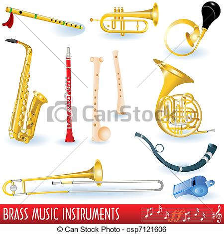 Clip Art Vector of Brass music instruments.