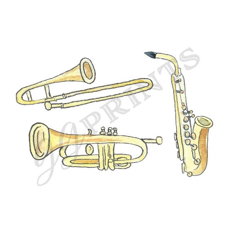 Watercolor Musical Instruments Clipart // Music Clipart // Trumpet  Saxophone Trombone Brass.