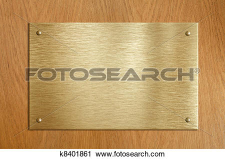 Stock Photography of Wooden plaque with gold or brass plate.