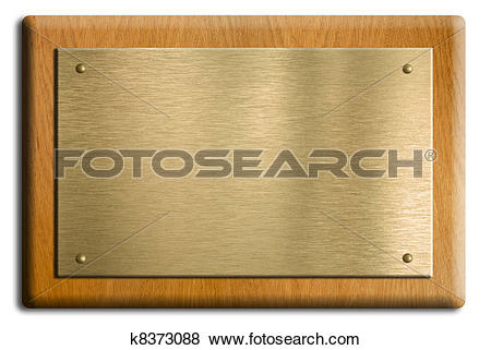 Pictures of Wooden plaque with gold or brass plate isolated on.
