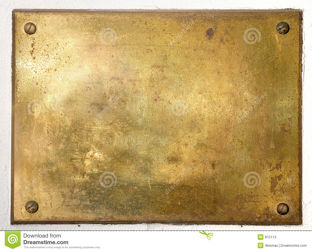 Yellow Brass Metal Plate Border Stock Photography.