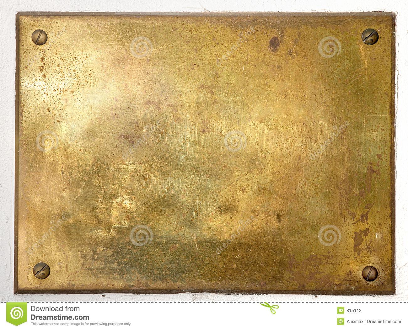 Yellow Brass Metal Plate Border Stock Photography.
