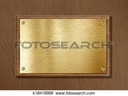 Stock Photograph of golden or brass plate for nameboard or diploma.