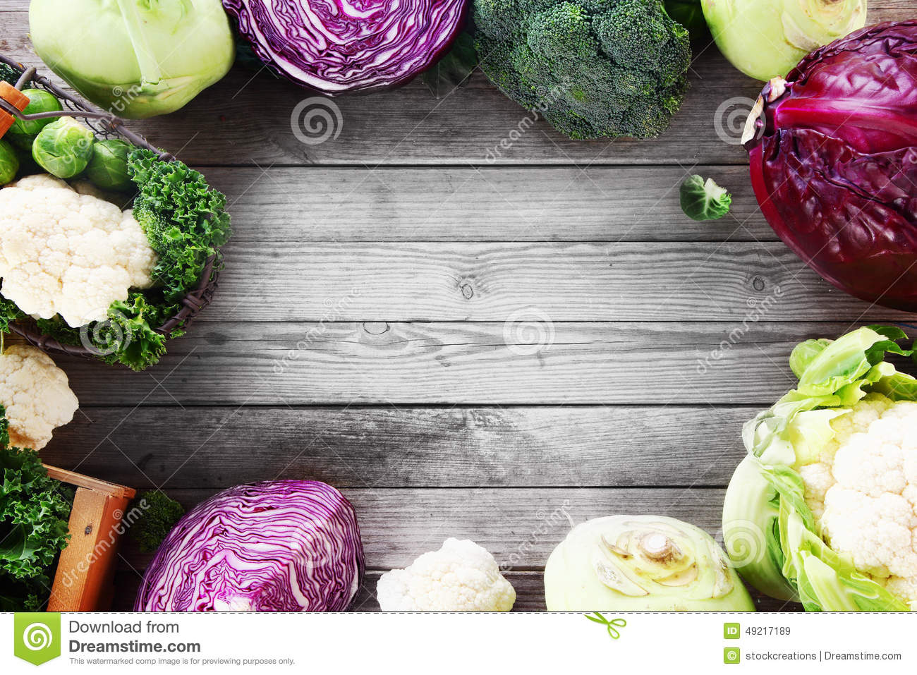 Frame Of Various Brassica Cabbage Family Varieties Stock Photo.