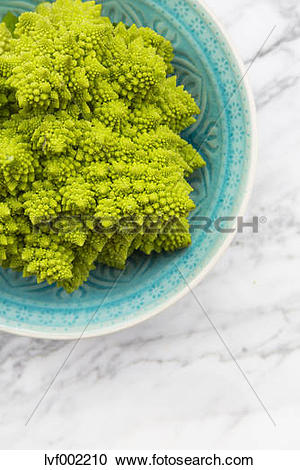 Stock Photography of Bowl with Romanesco, Brassica oleracea convar.