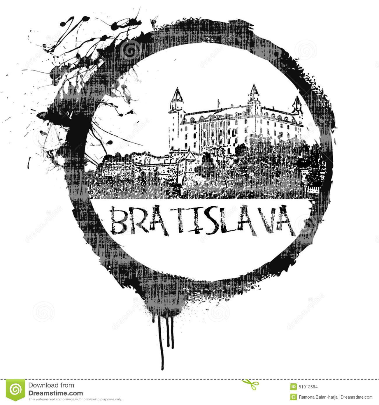 Bratislava Stamp Stock Illustration.