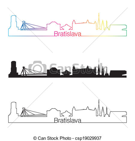 Vectors of Bratislava skyline linear style with rainbow in.