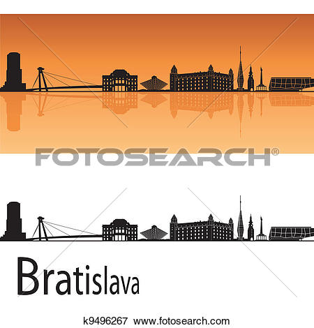 Clip Art of Bratislava skyline k9496267.