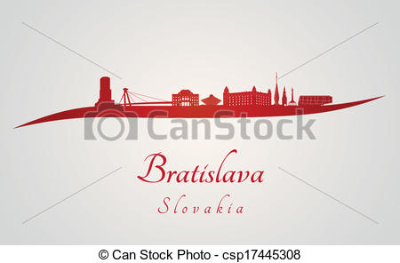 Vector Clipart of Bratislava skyline in red and gray background in.