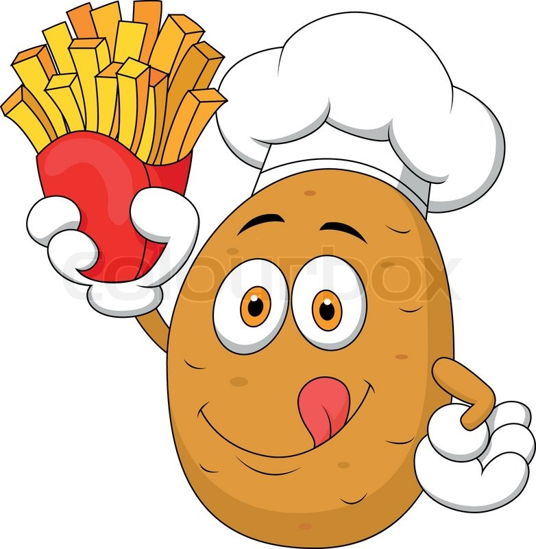 Cartoon Kartoffel hob die Hände.