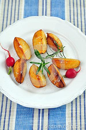 Bratkartoffeln, German Roast Potatoes Stock Photo.