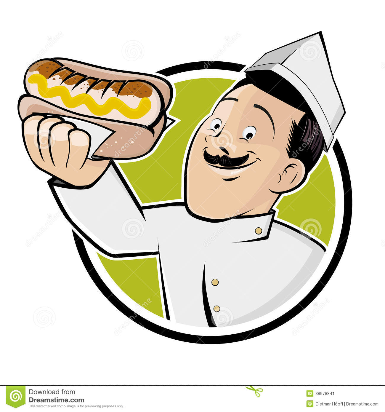 Happy Man Is Serving A German Bratwurst Stock Vector.