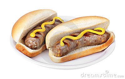 Bratwurst On A Bun Stock Photo.