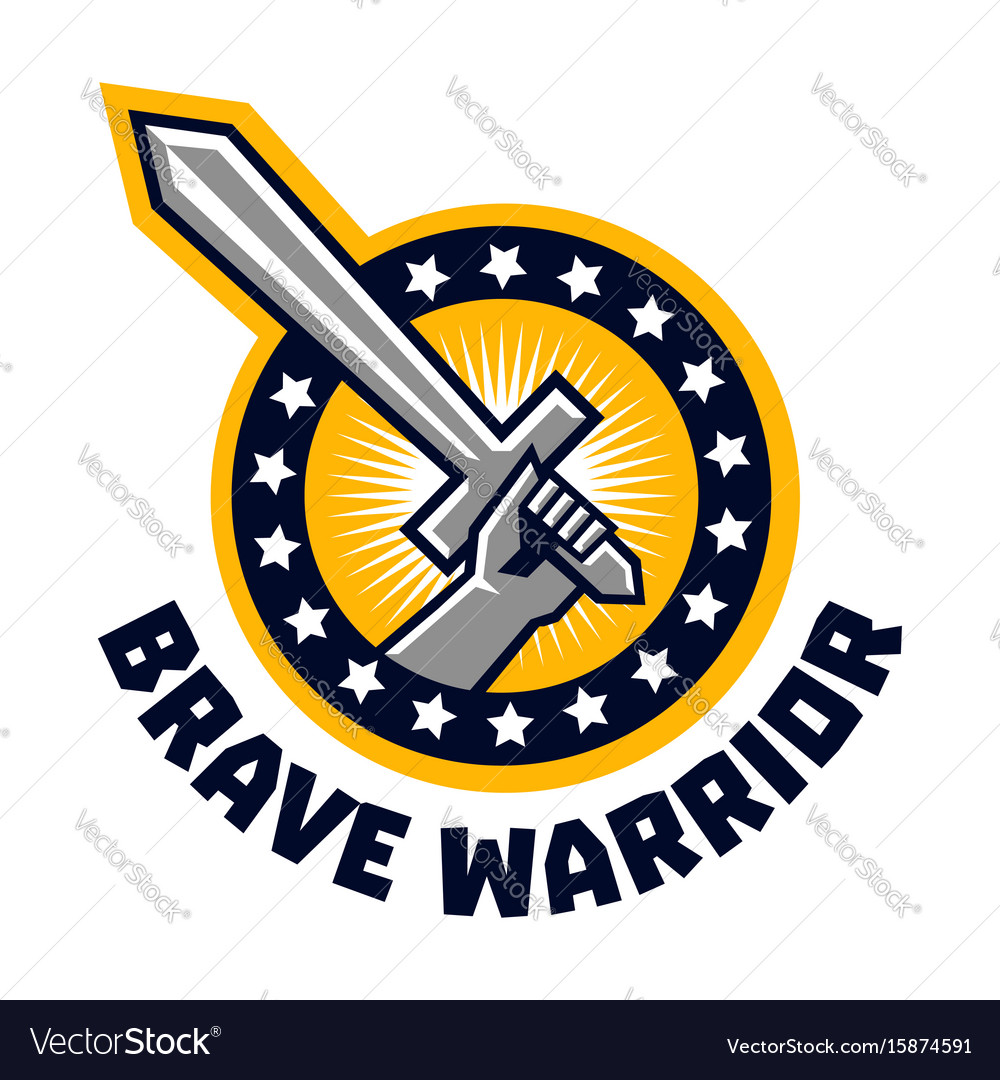 Logo brave warriors a hand holding a sword the.