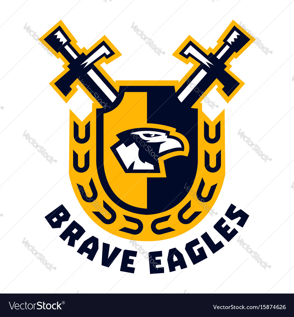 Logo brave eagles eagle head located on the.
