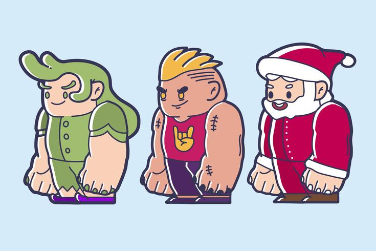 Chibi character design of a fairy, brave man and santa claus.