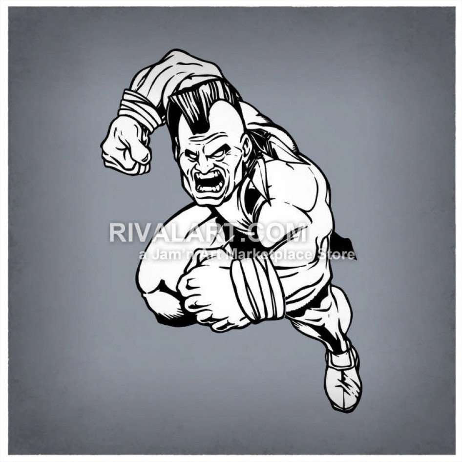 Black White Braves Mascot Tough Mohawk.