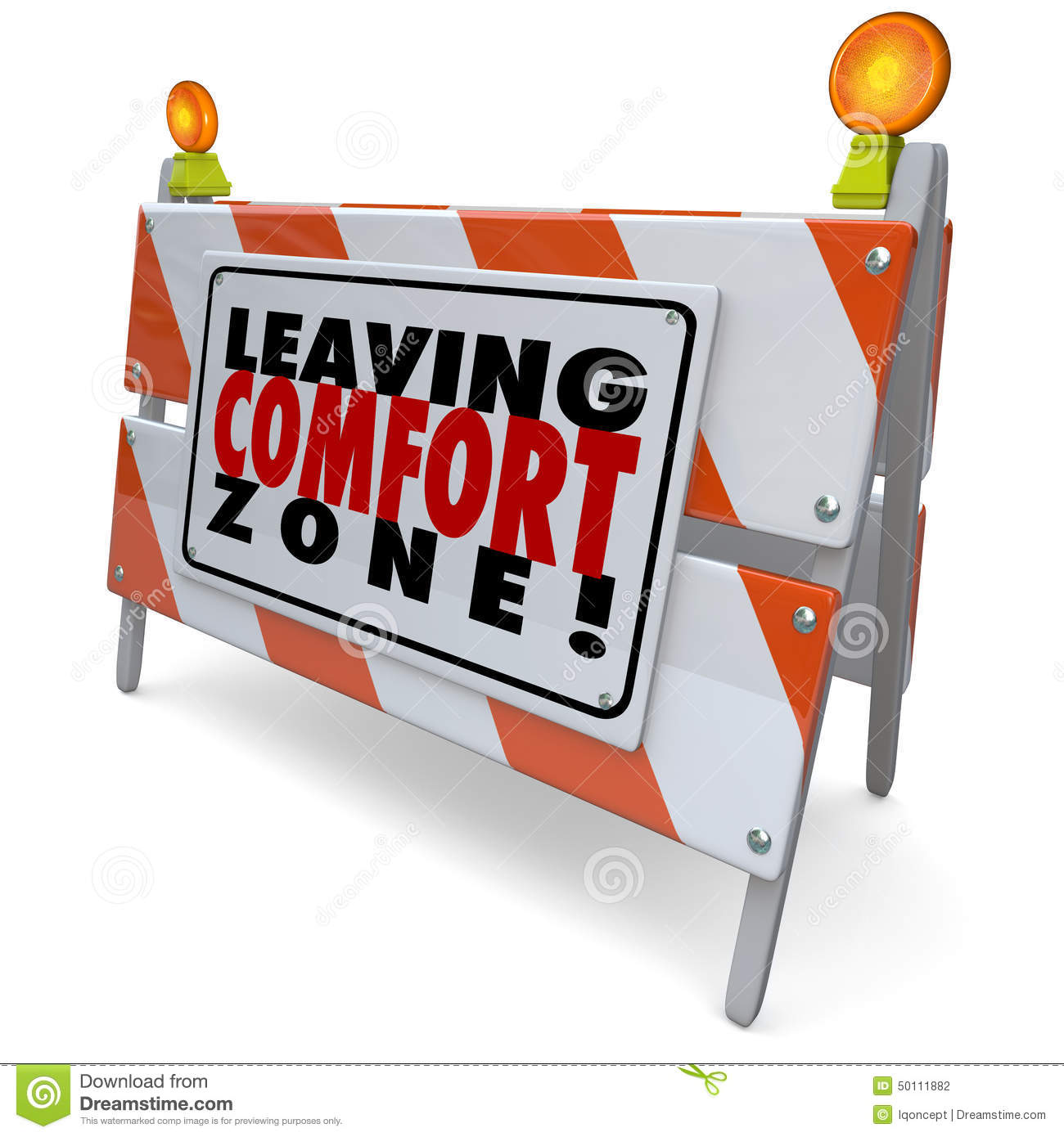 Leaving Comfort Zone Barrier Warning Sign Grow Bravery Stock.