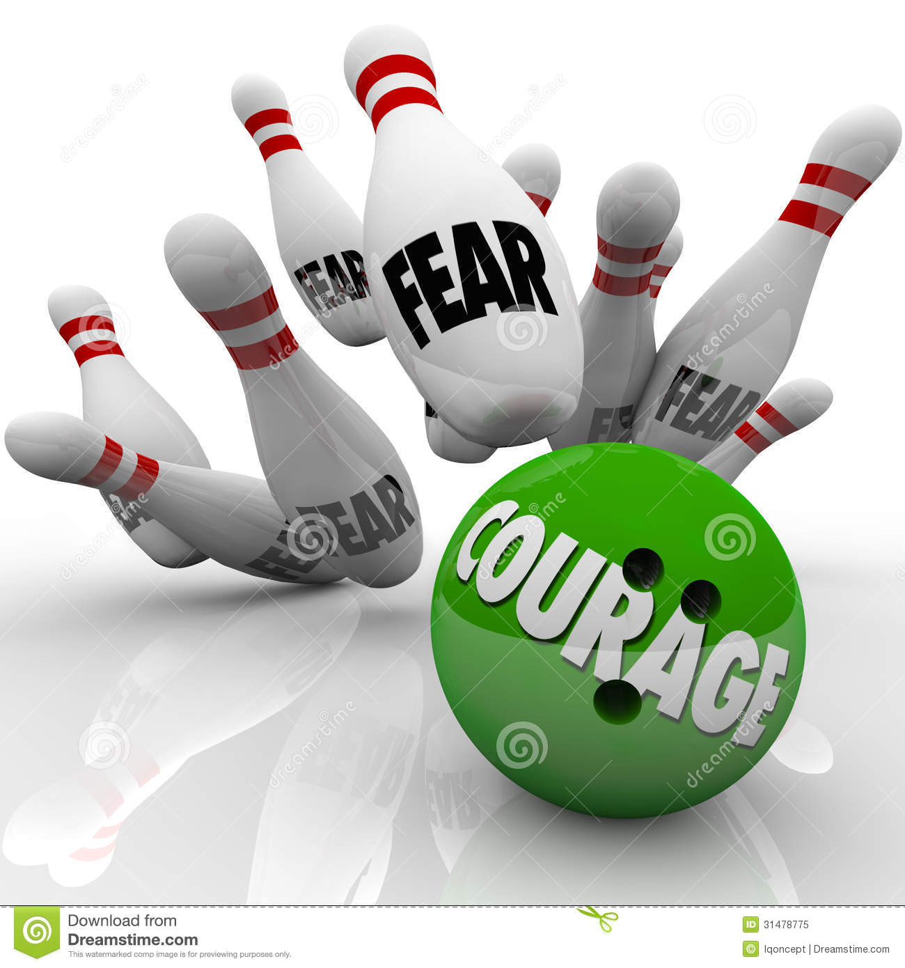 Courage Vs. Fear Bowling Ball Strike Pins Bravery Royalty Free.