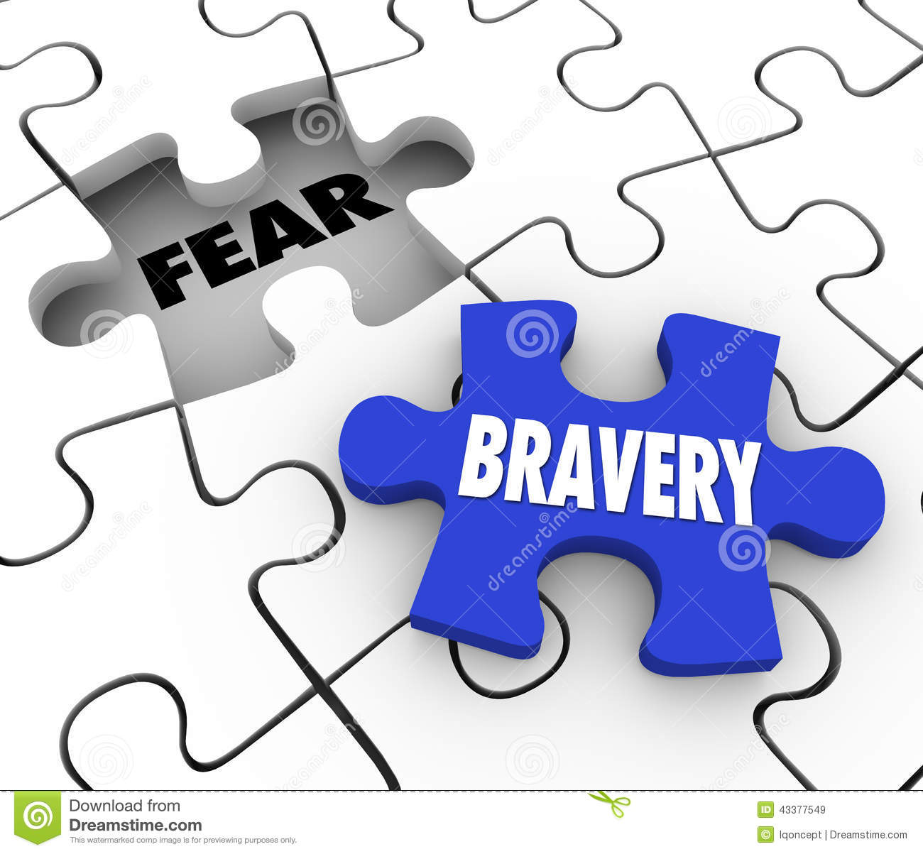 Bravery Vs Fear Puzzle Piece Filling Hole Courage Confidence Stock.