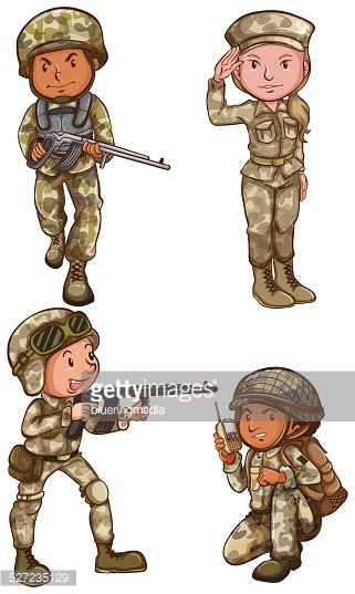 Four Brave Soldiers stock vectors.