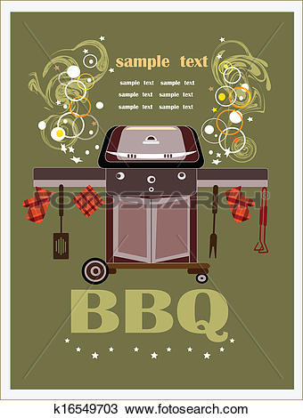 Clipart of bbq brazier on the green background k16549703.