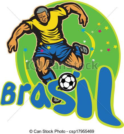 Clip Art Vector of Brazil Football Player Kicking Ball Retro.