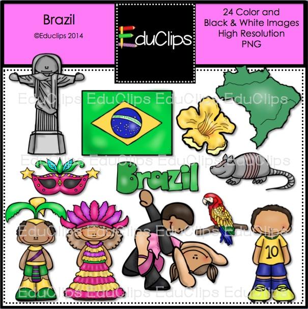Brazil Clip Art Bundle (Color and B&W).