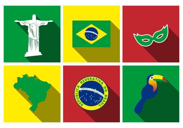 Free Brazil Flat Icon Set Vector.
