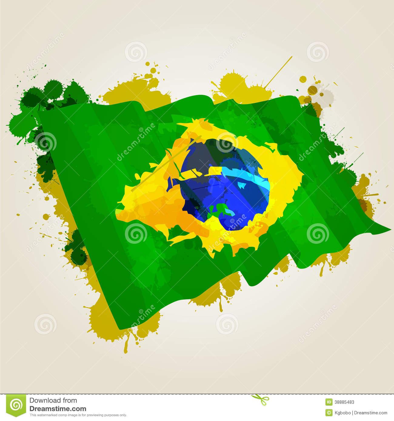 brazil flag paint clipart