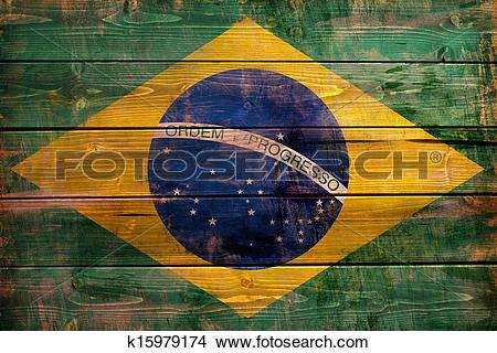 Drawings of Brazil flag painted on wood aces k15979174.