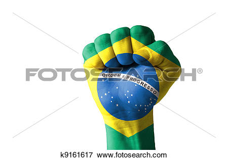 Picture of Fist painted in colors of brazil flag k9161617.