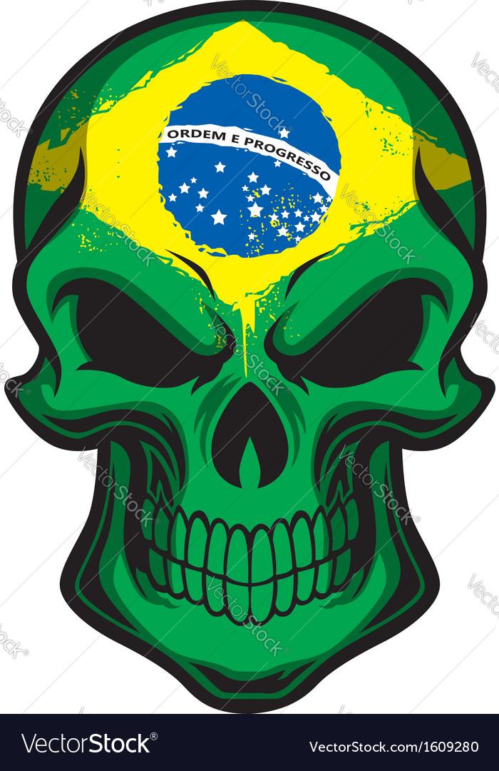 Brazil flag painted on skull Royalty Free Vector Image.