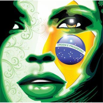 Vector Brazil Flag Paint on girl Face.