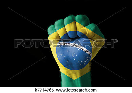 Stock Illustration of Fist painted in colors of brazil flag.