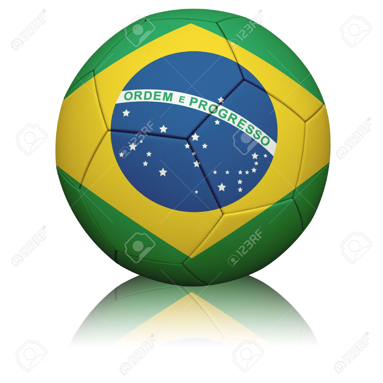 Detailed Rendering Of The Brazilian Flag Painted/projected Onto.