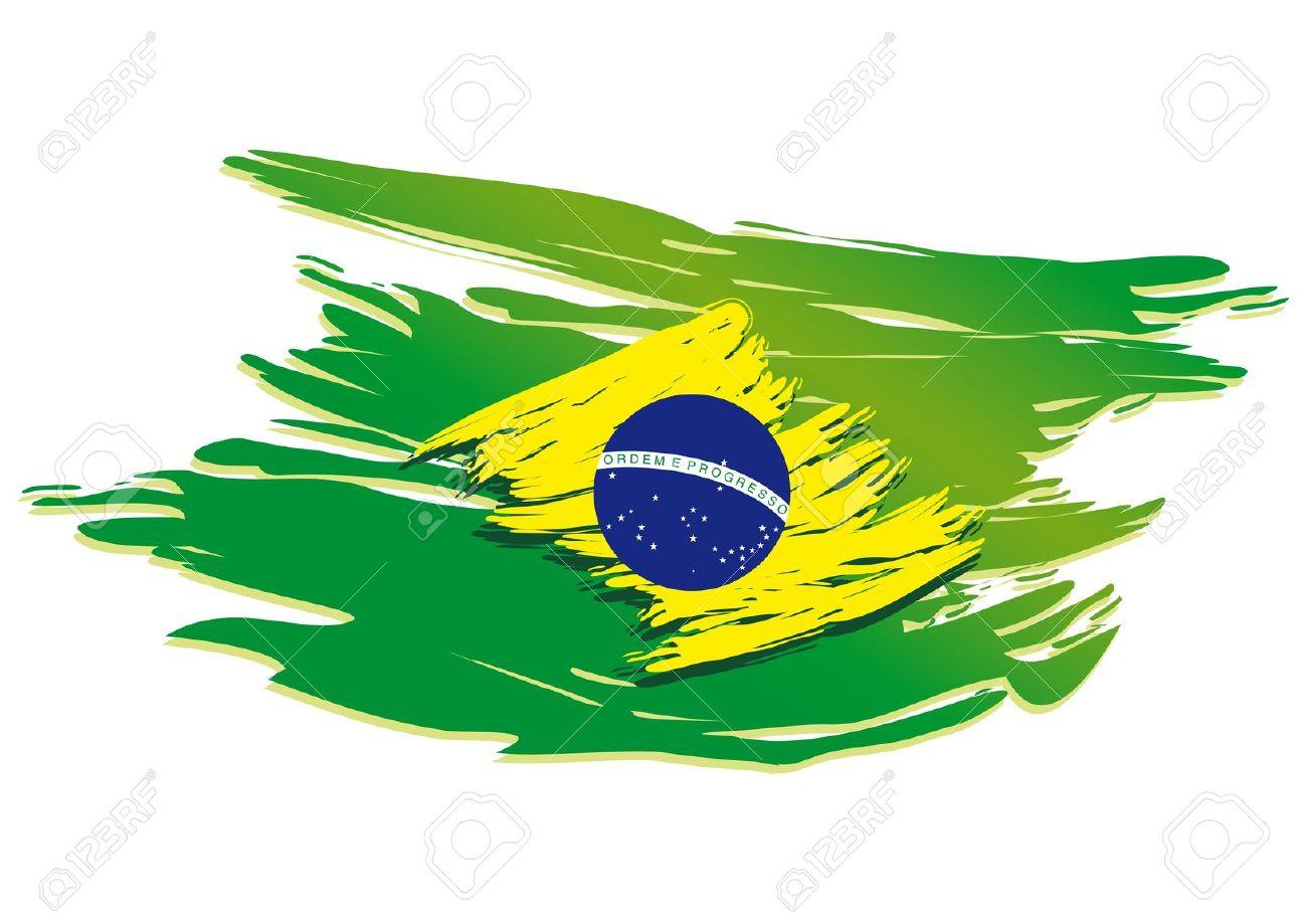 Brazil Flag Paint Clipart.