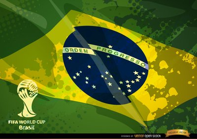 Brazil grunge flag football cup logo Clipart Picture.