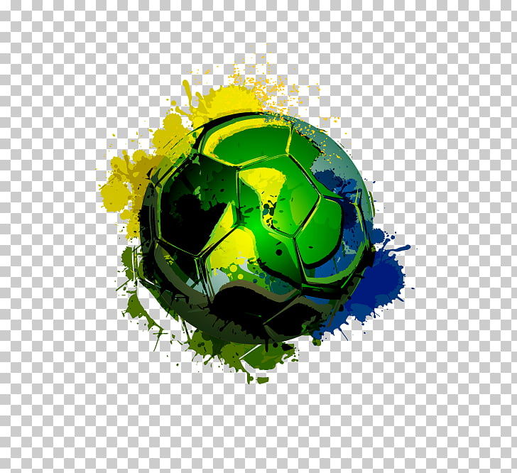 Brazil Football FIFA World Cup Ink, Colorful football, green.