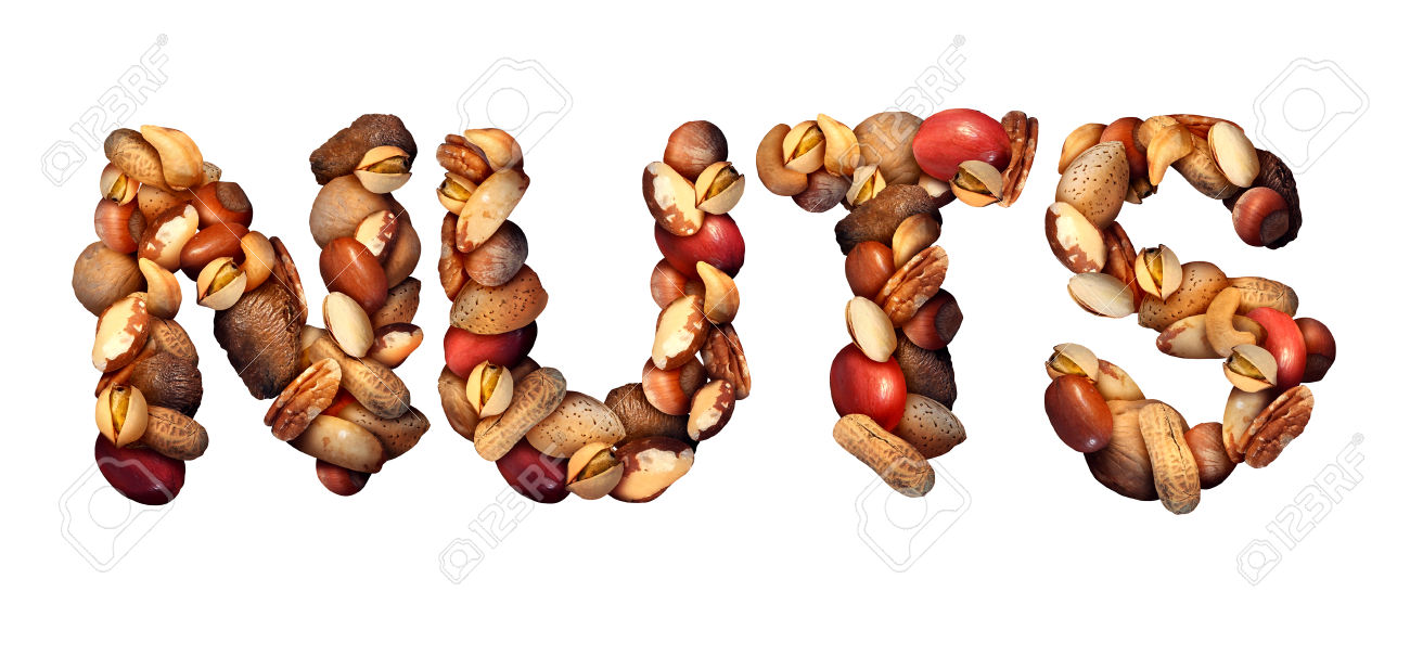 Nuts Symbol As Letters Made With A Mixed Assortment Of Raw Seeds.