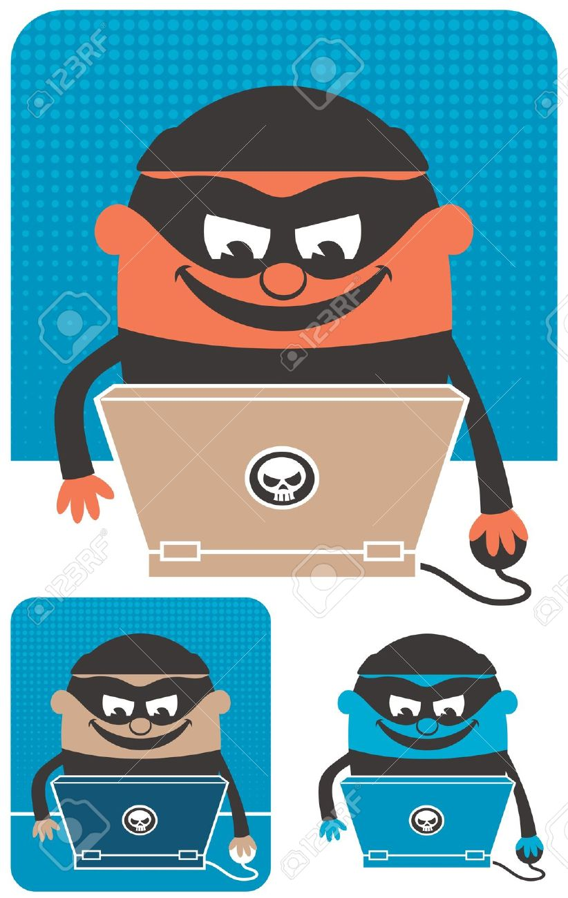 Criminal Using Computer To Commit Crime. The Illustration Is.