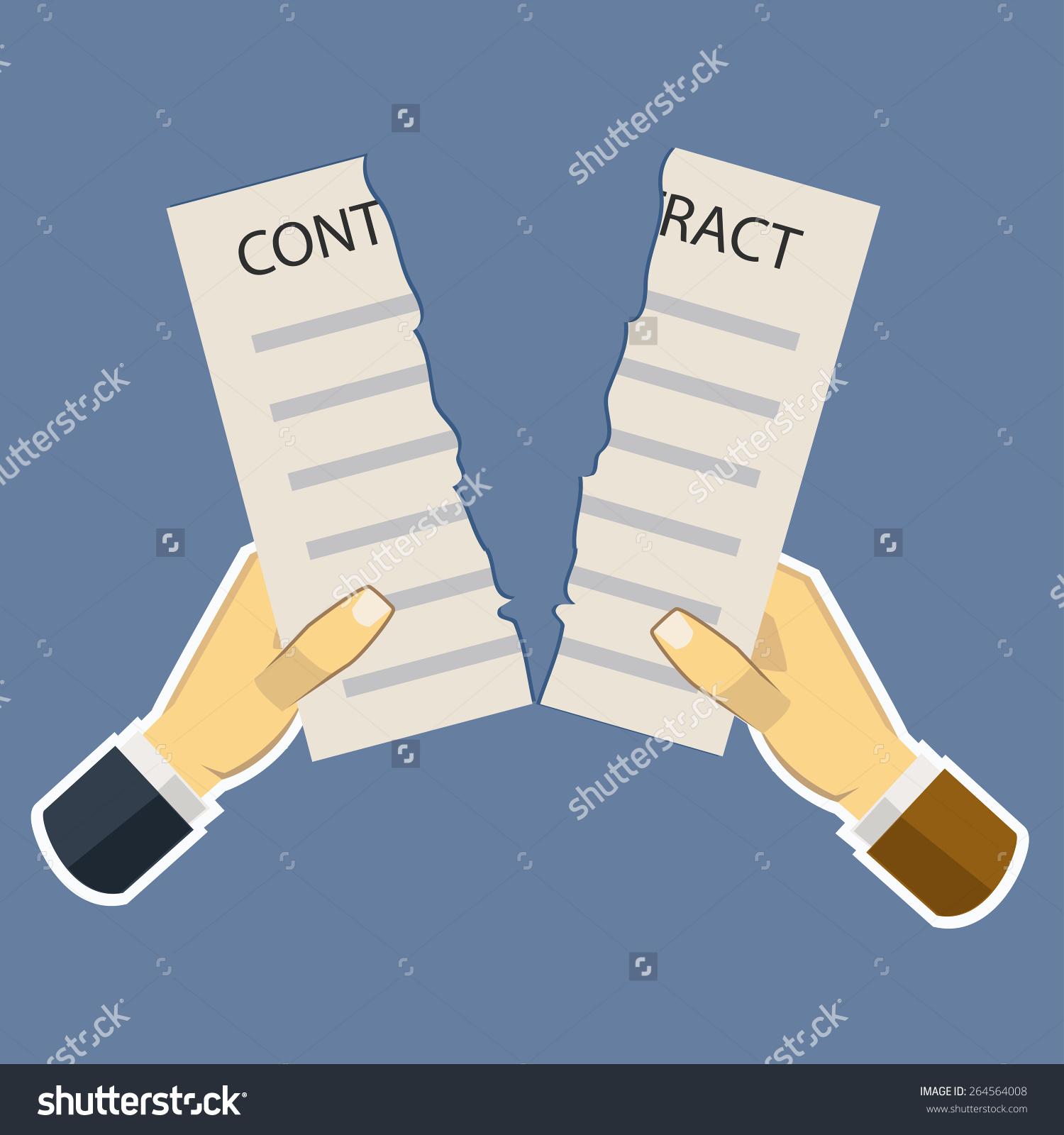 Contract Tear Failure Flat Design Vector Stock Vector 264564008.