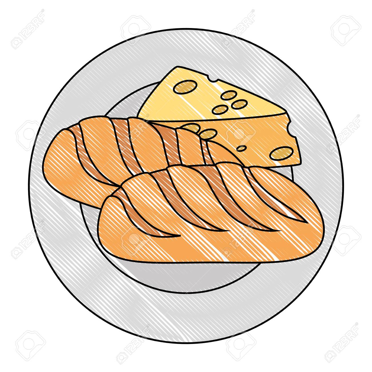 dish with cheese piece and bread vector illustration design.